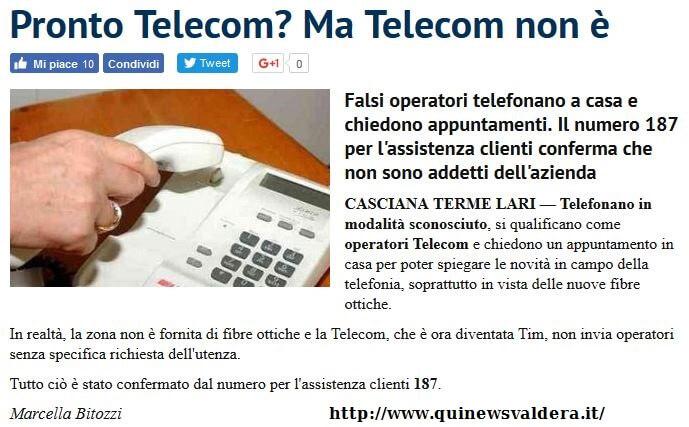falsi operatori Telecom promettono falsa fibra