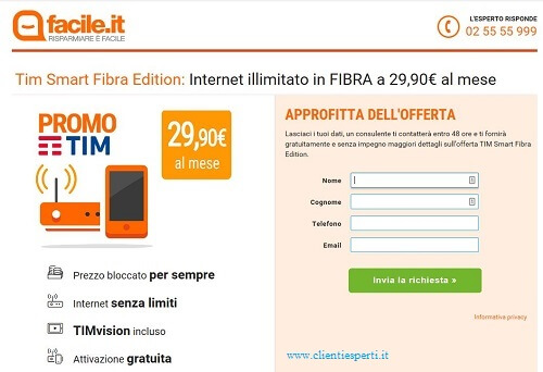 raccolta dati offerta tim facile.it